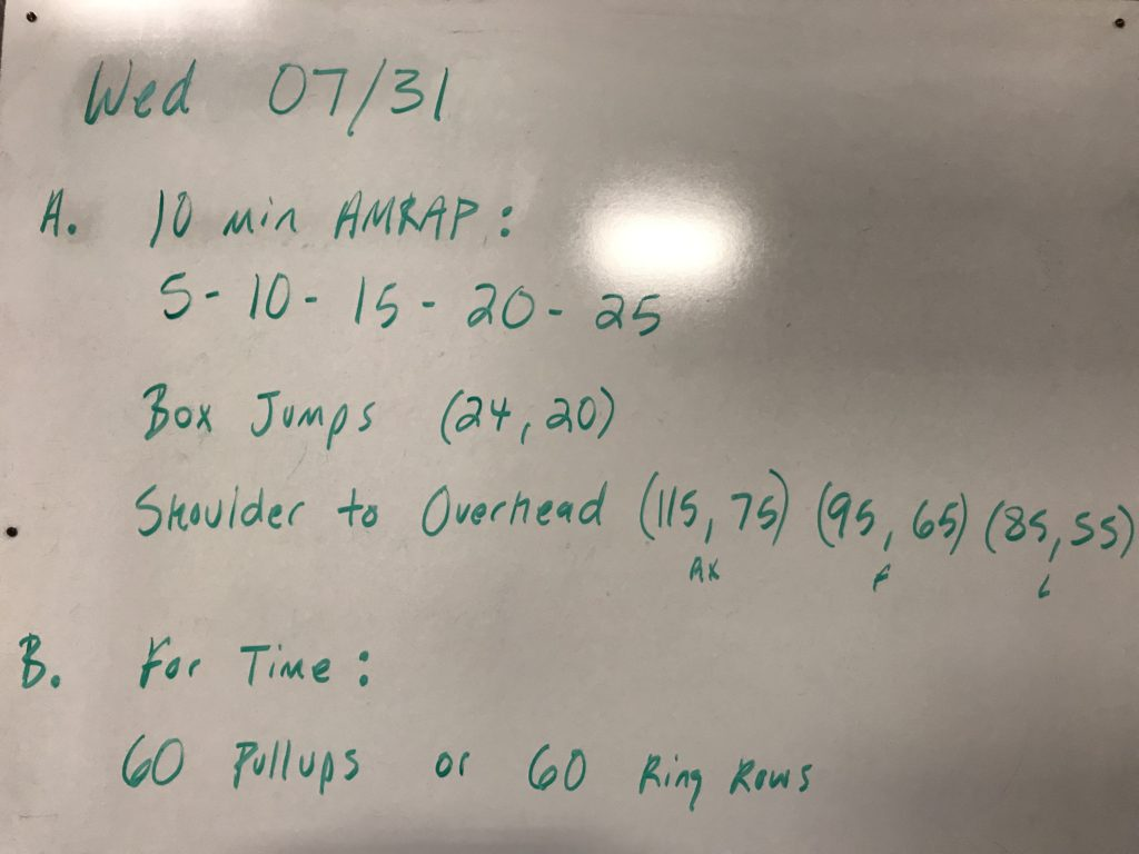 Workout – Wednesday 07/31/2019